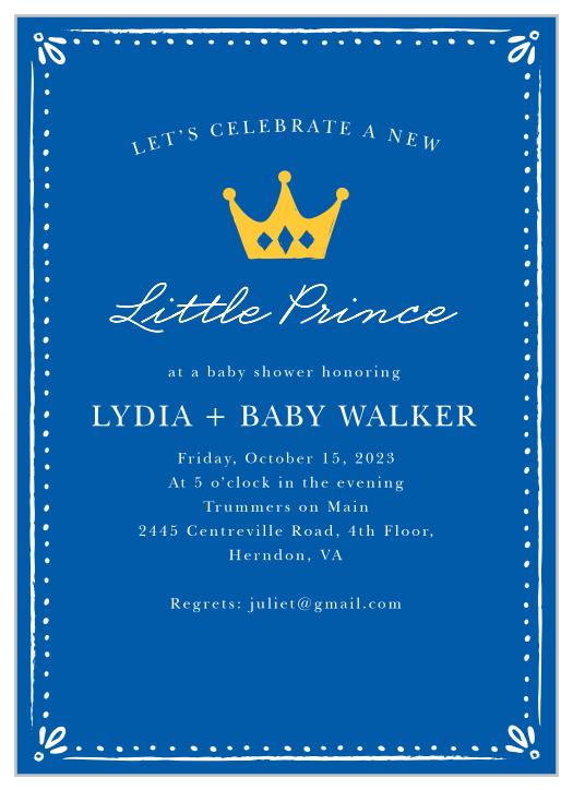 prince baby shower invitations match