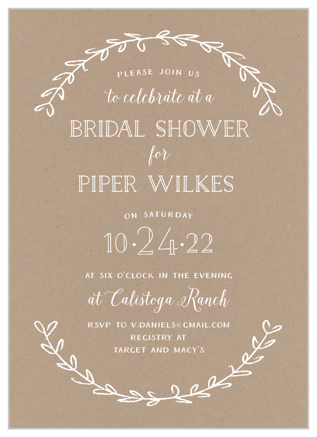 invitations by dawn offers exceptional stationery with a custom look for a fabulous price. Rustic Laurel Bridal Shower Invitations By Basic Invite