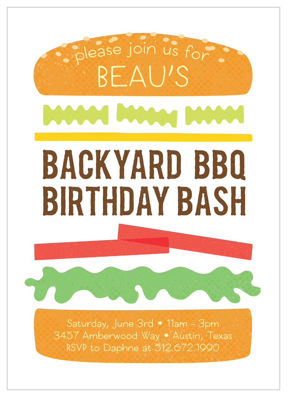 backyard bbq children s birthday invitations