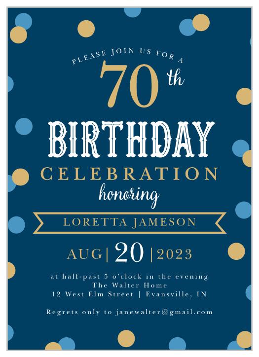 70th birthday invitations design
