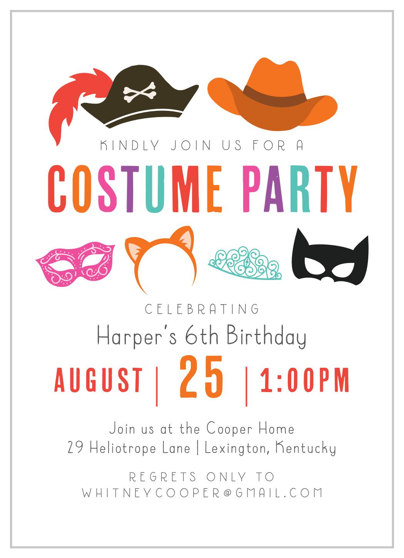 costume hats children s birthday invitations