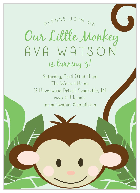 monkey around children s birthday invitations