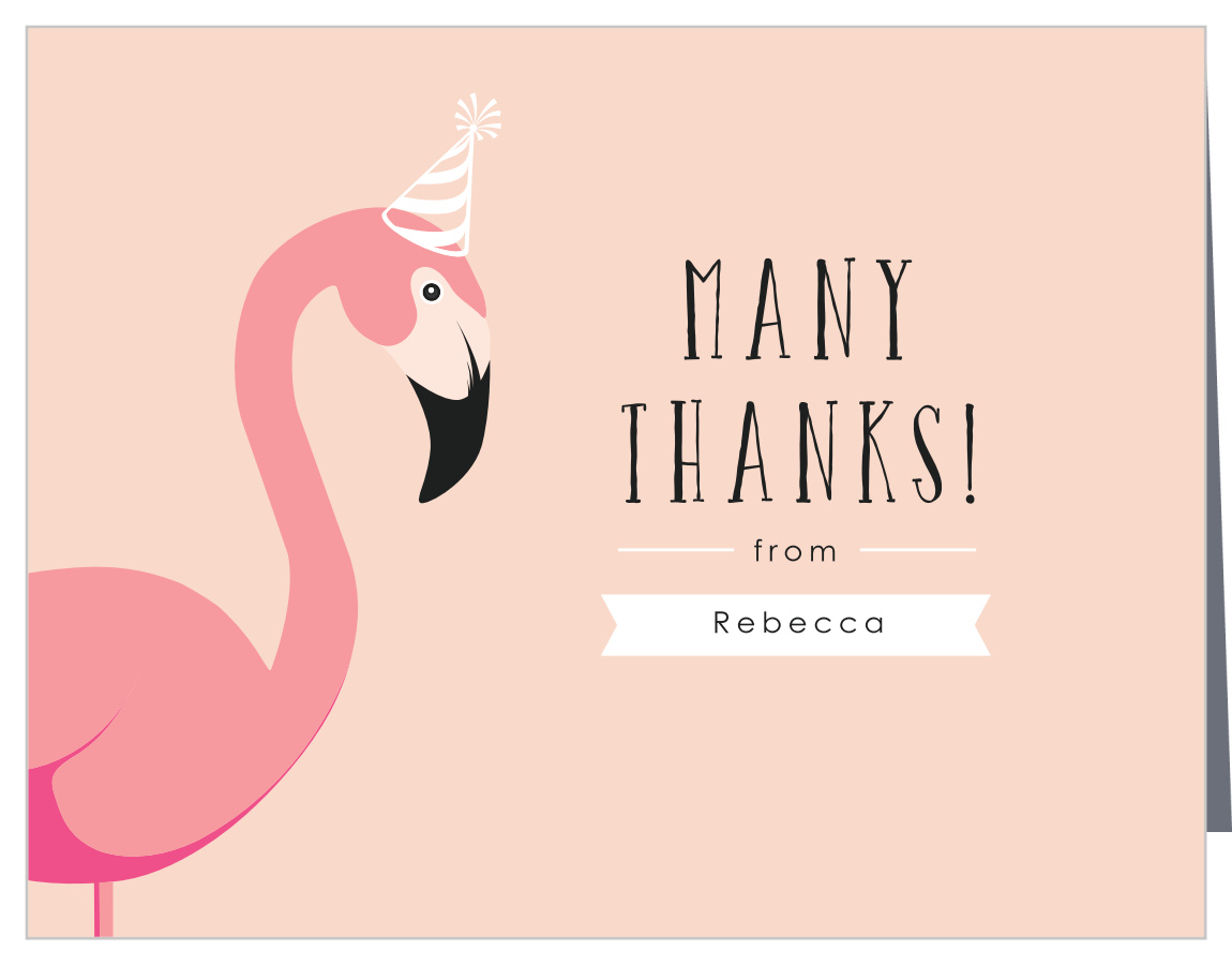 flamingo party children s birthday thank you cards