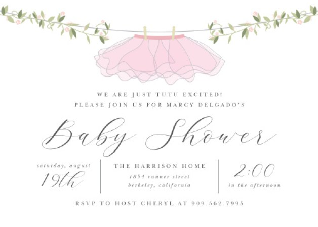 Tutu Excited Baby Shower Invitations