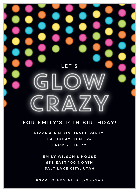 glow party children s birthday invitations