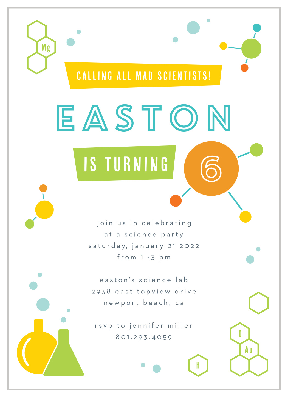 science fun children s birthday invitations