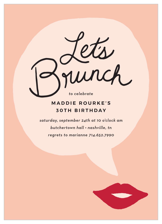 brunch bubble milestone birthday invitations