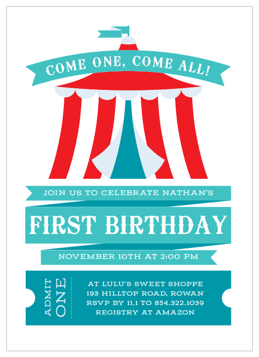 circus birthday invitations match