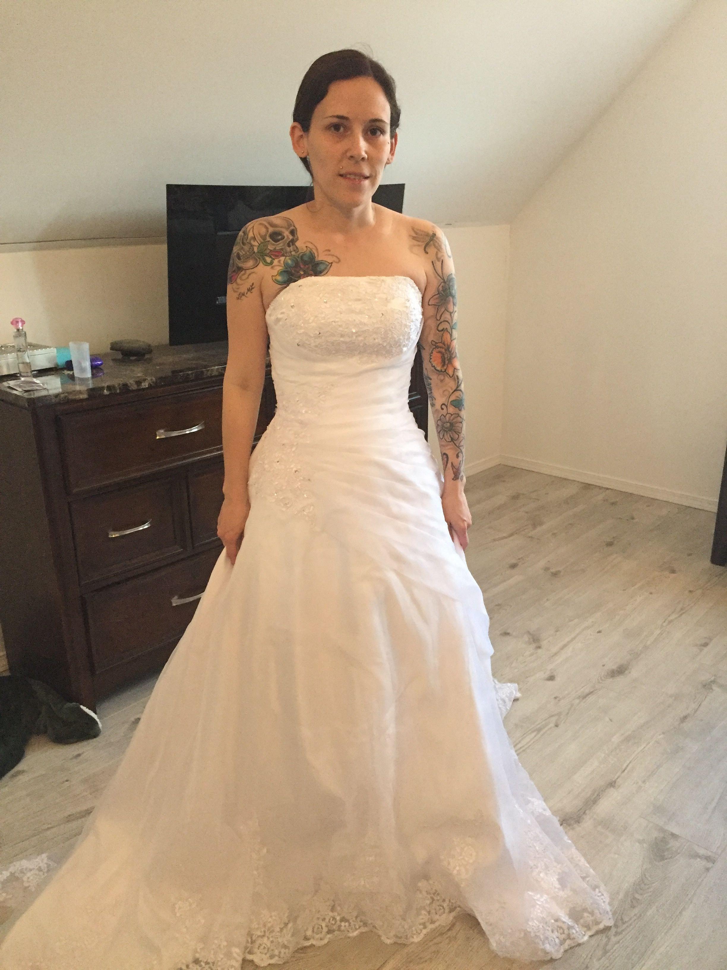 Ball-Gown Strapless Chapel Train Satin Organza Wedding