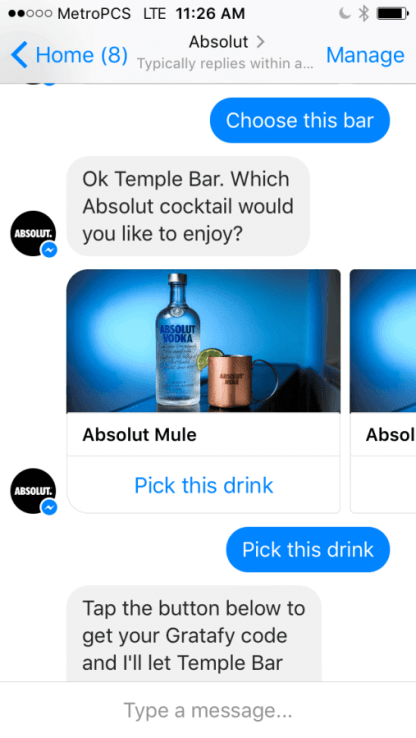 Chatbots Drink Absolut