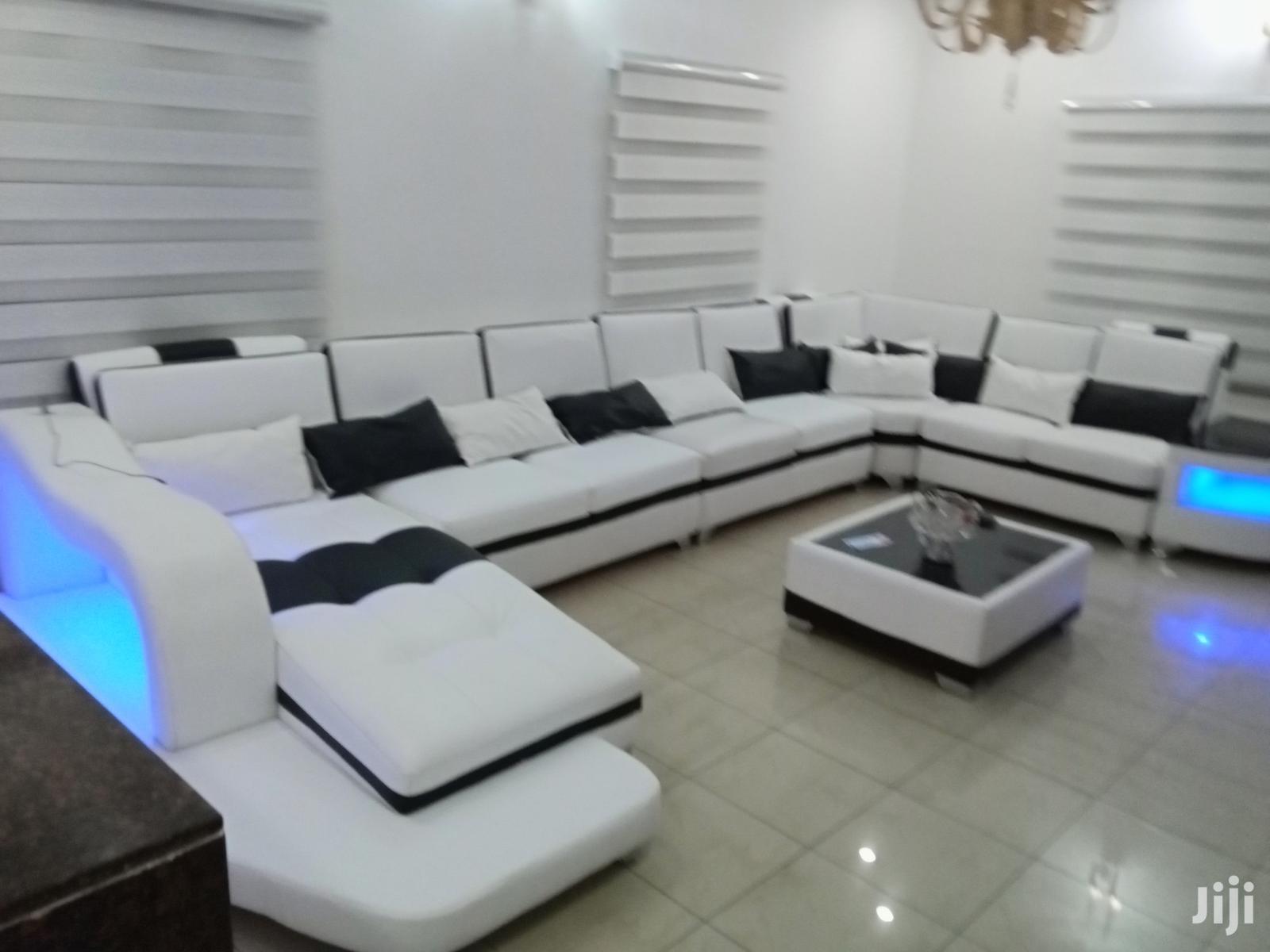 u shape sofa with usb port and led lights