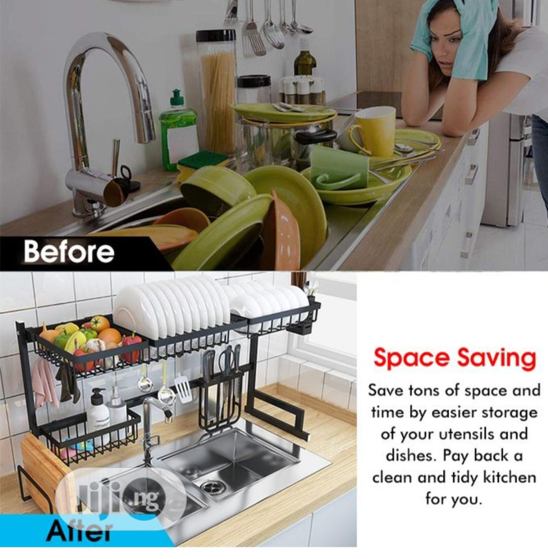 over sink dish drying rack drainer stainless steel kitchen shelf