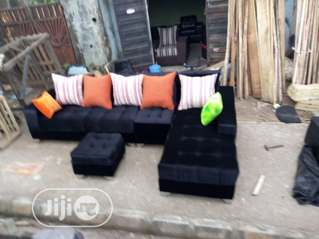 new set of u shaped sofa suede with throw pillows and ottoman