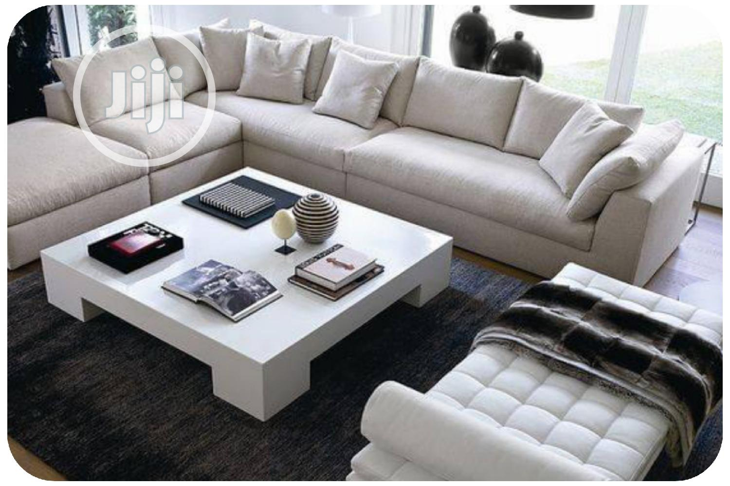 modern l shaped sofa with center table