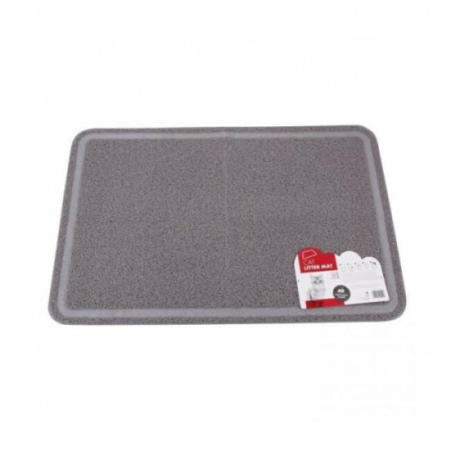 tapis de litiere rectangulaire gris 60 cm x 89 cm pour chat m pets