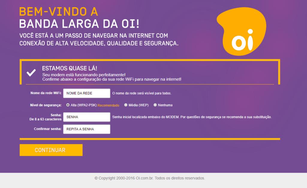 Imagem mostra a tela de troca do nome e senha da rede wifi pelo iniciarbldaoi/
