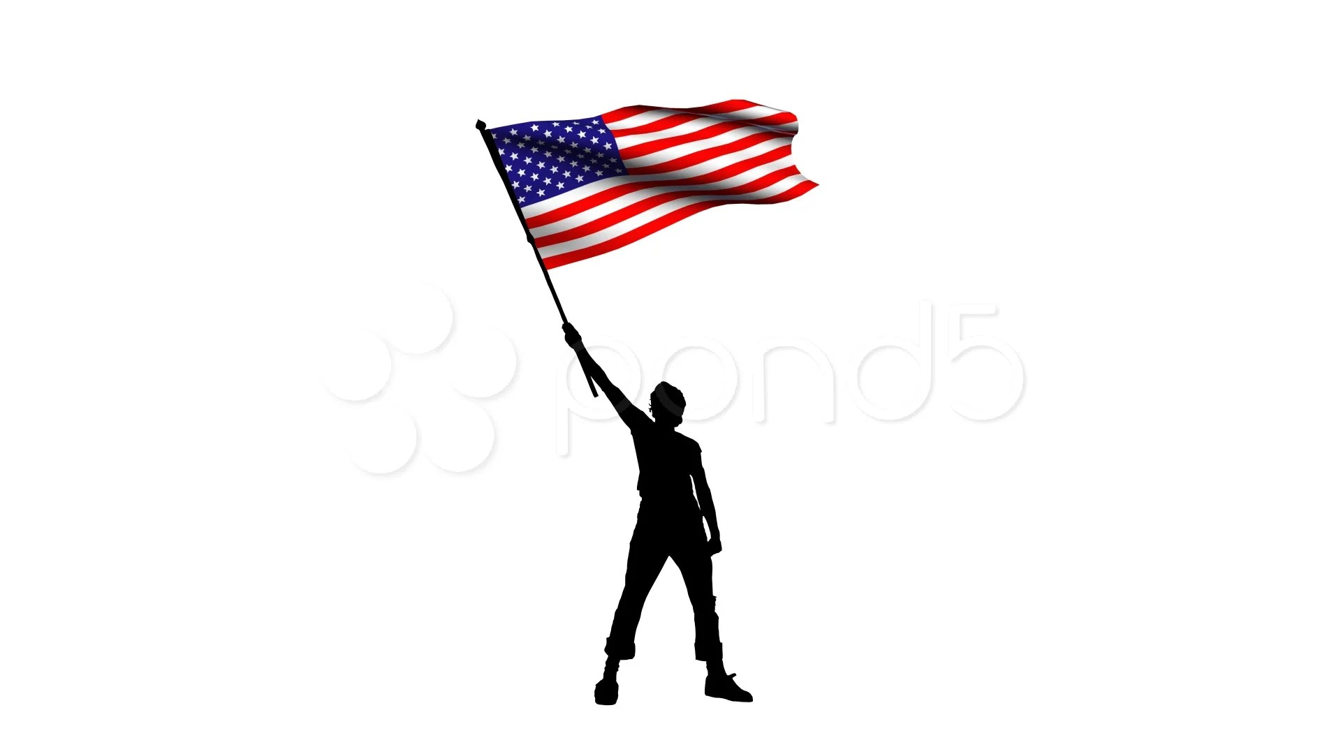 Man Holding A Waving Us Flag Stock Video