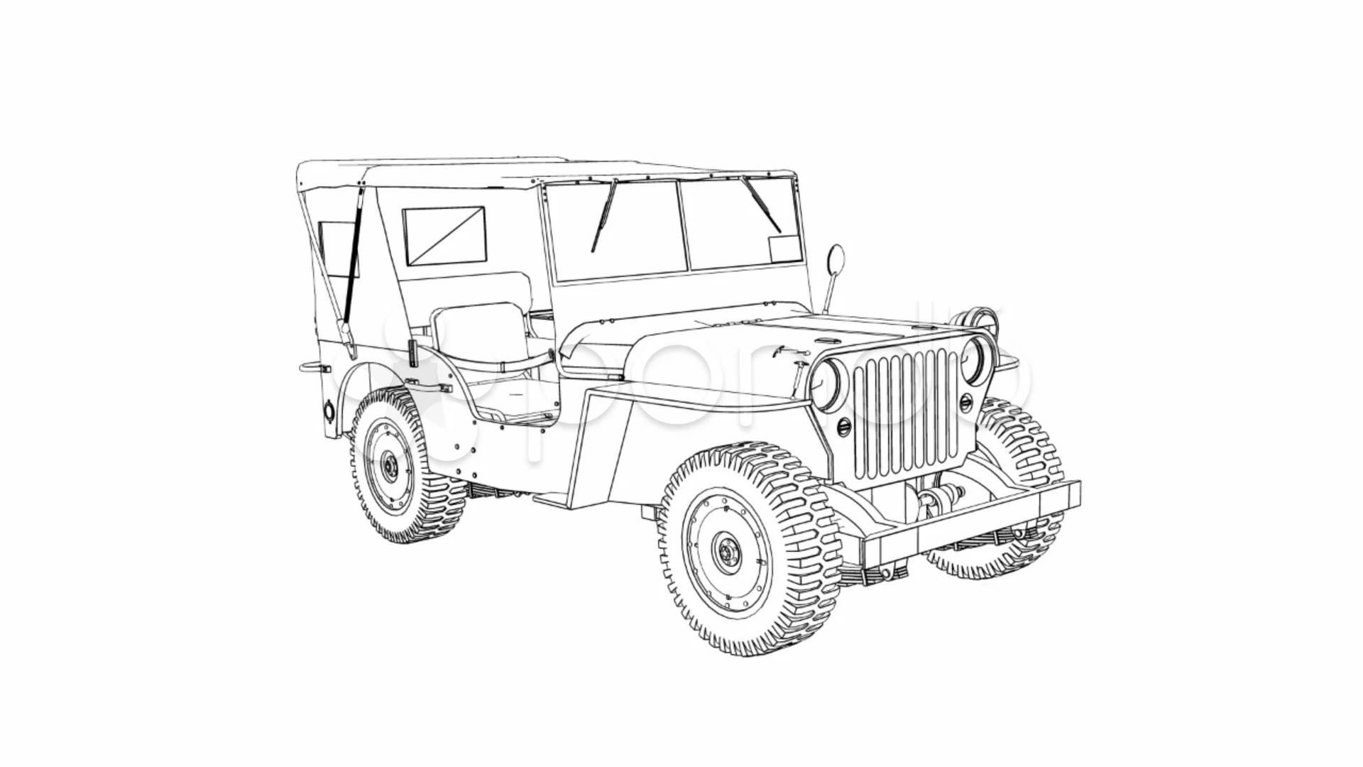 Draw Willys Jeep P Hd Amp 4k Stock Footage