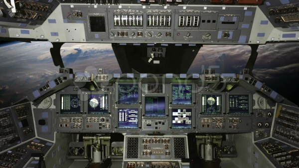 Space Shuttle Cockpit View With Instruments Gauges And