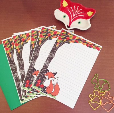 fancy paperie woodland fox stationery set