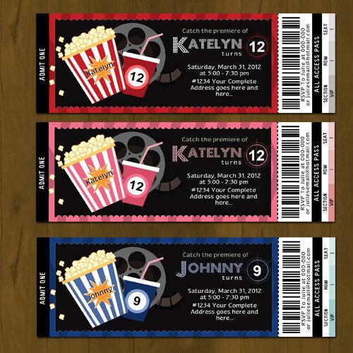 Movie Night Ticket Invitation Splashbox Printables
