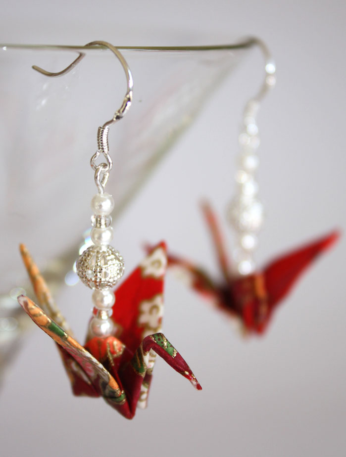 Red Origami Earrings by Origami Dolly