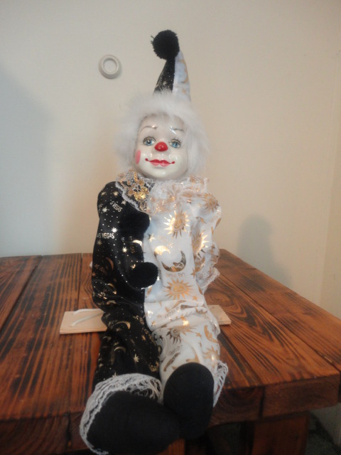 Handmade Porcelain Clown Marionette Doll One Of A Kind