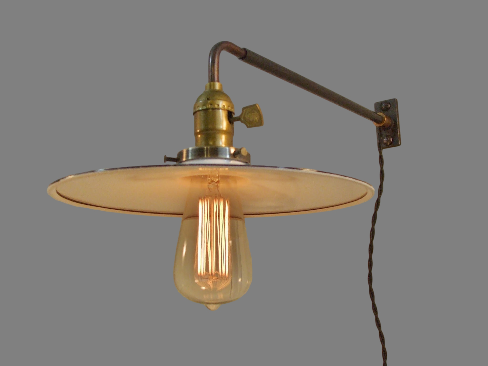 Vintage Industrial Style Wall Sconce with Flat Steel Shade ... on Vintage Wall Sconces id=47706