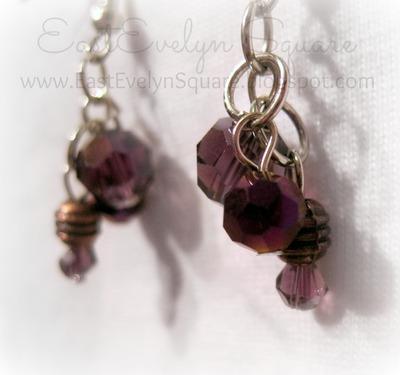Purple Tones, Mixed Metals Earrings