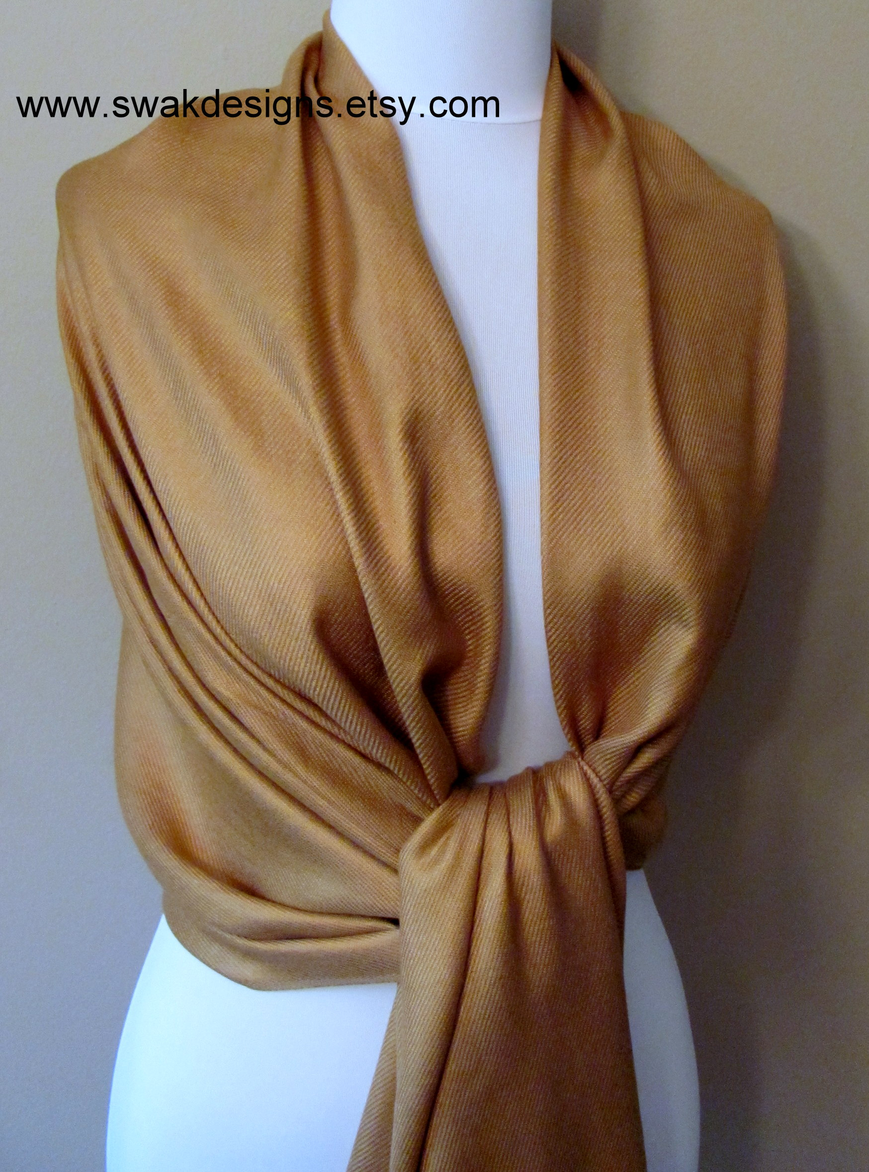 Bronze Gold Pashmina Scarf Wedding Shawl Bridesmaid