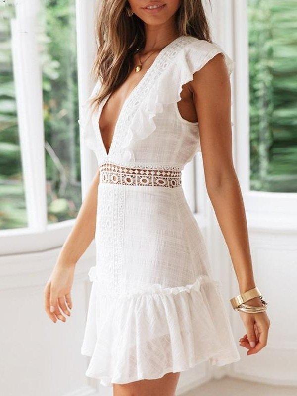 Vestido Branco Decote V | DMS Boutique