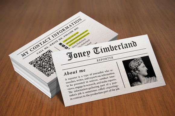 Newspaper Reporter Business Card Business Card