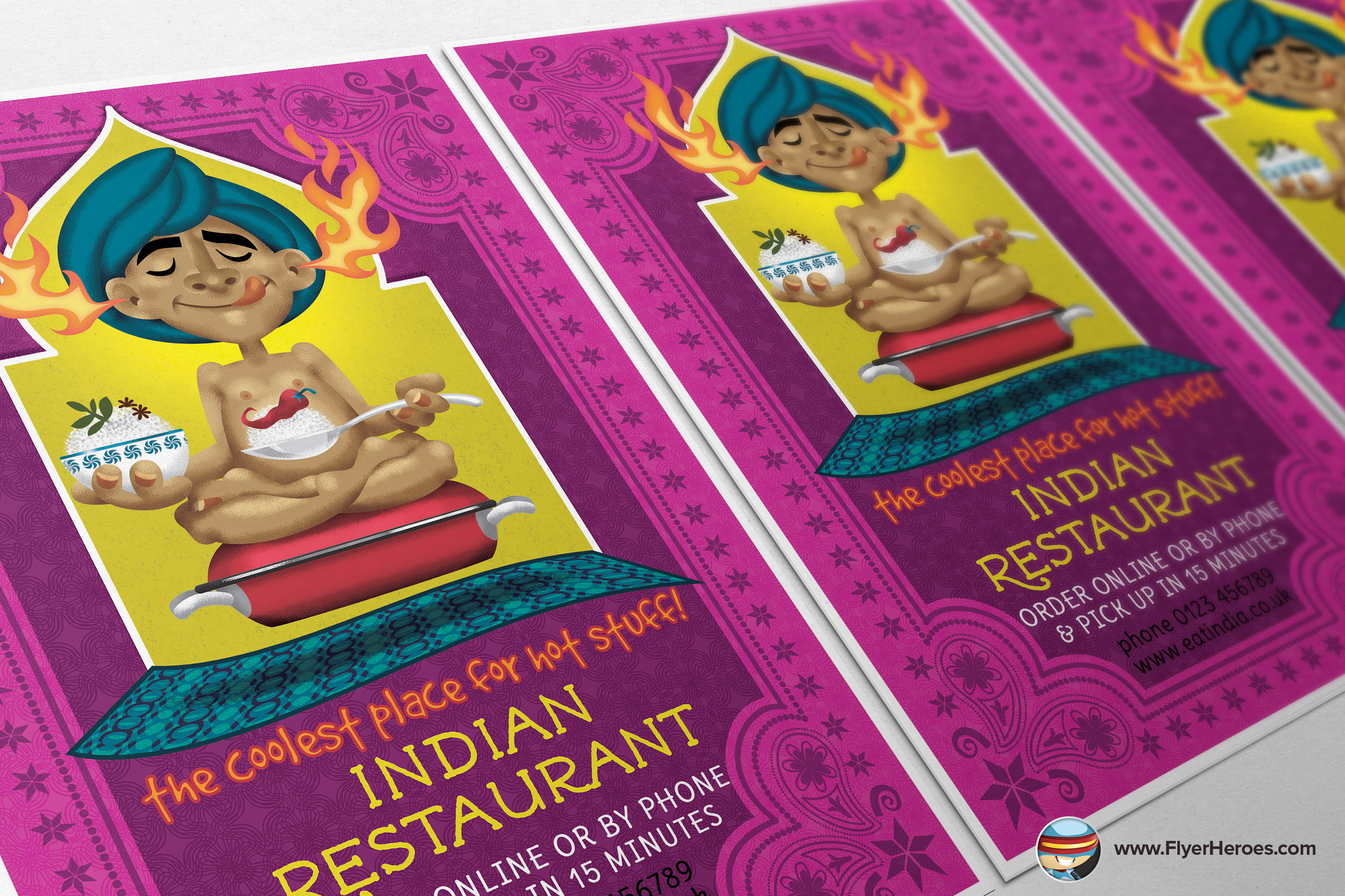 Indian Restaurant Flyer Template Flyer Templates On Creative Market