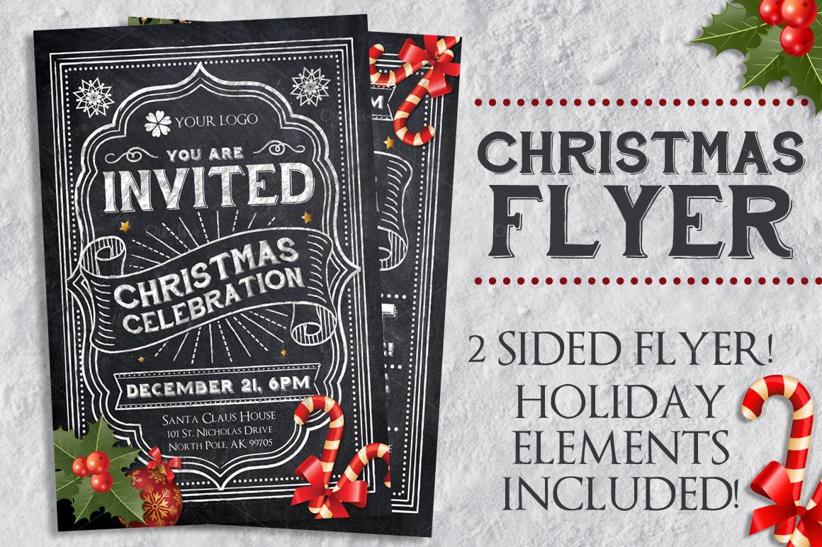 Chalk Christmas Flyer Flyer Templates On Creative Market