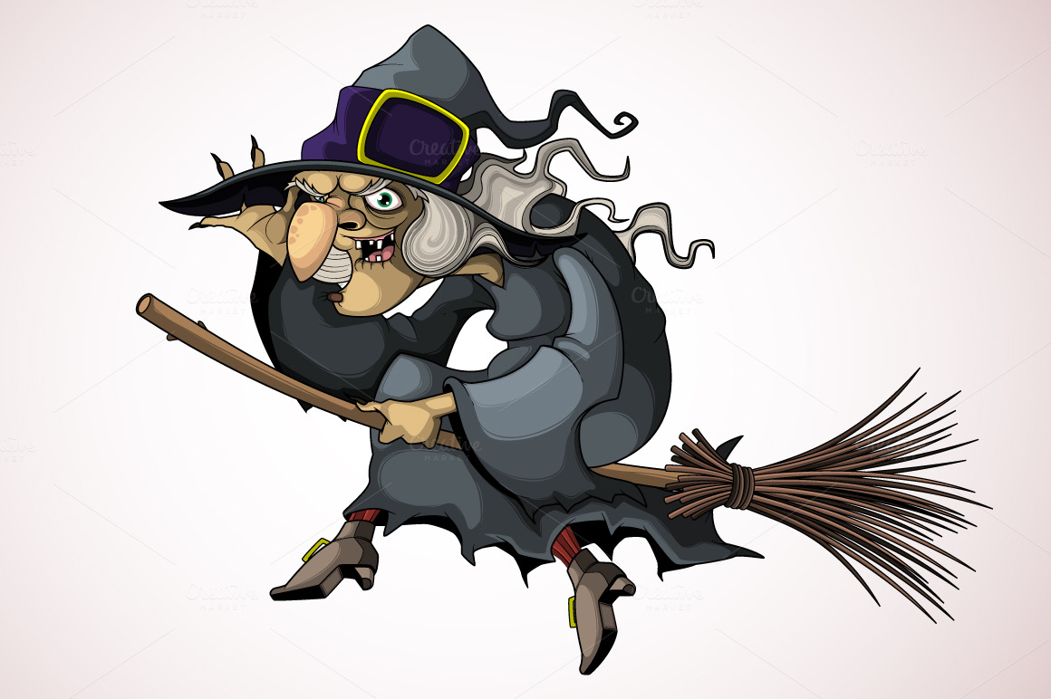 Witch flying on a broom ~ Illustrations on Creative Market
