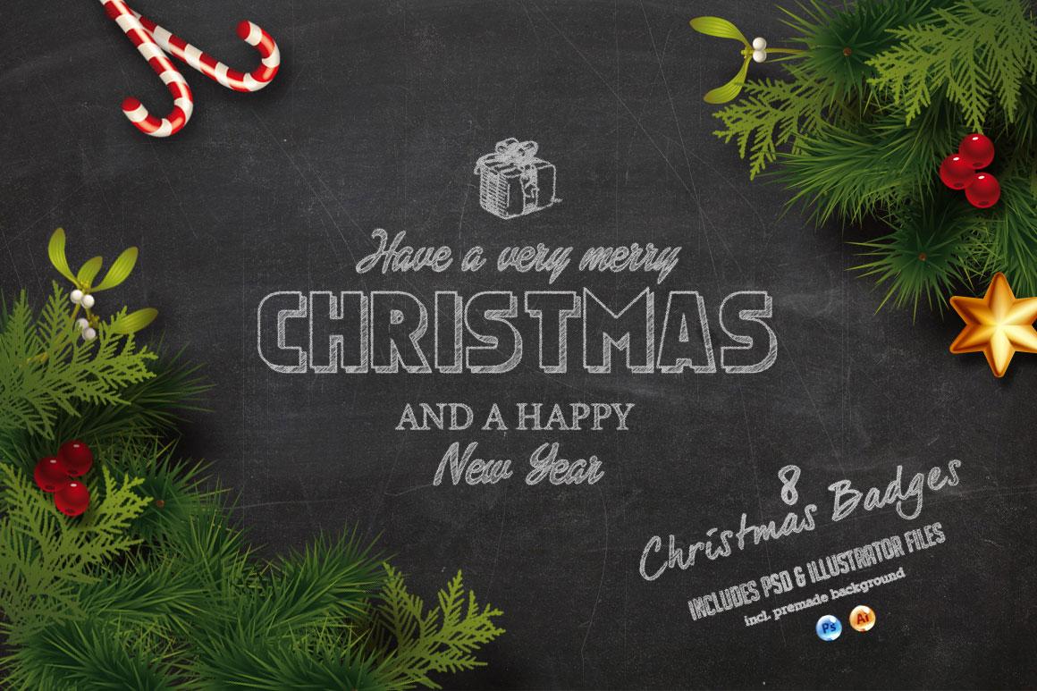 Christmas Chalk Badges Background Illustrations On