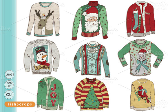 Ugly Christmas Sweater Clip Art Illustrations On