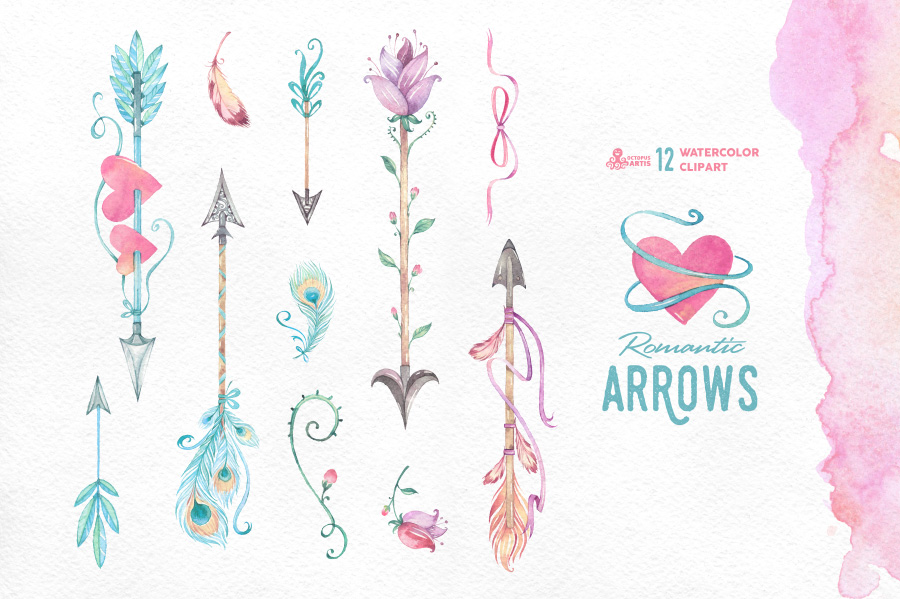 Romantic Arrows Watercolor Objects On Creative Market