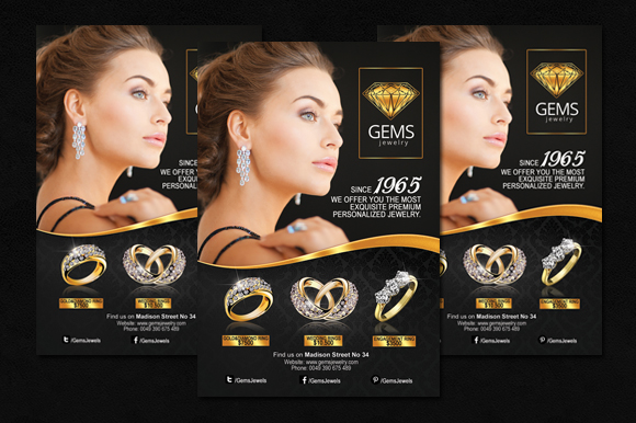 Black Amp Gold Jewelry Flyer Flyer Templates On Creative