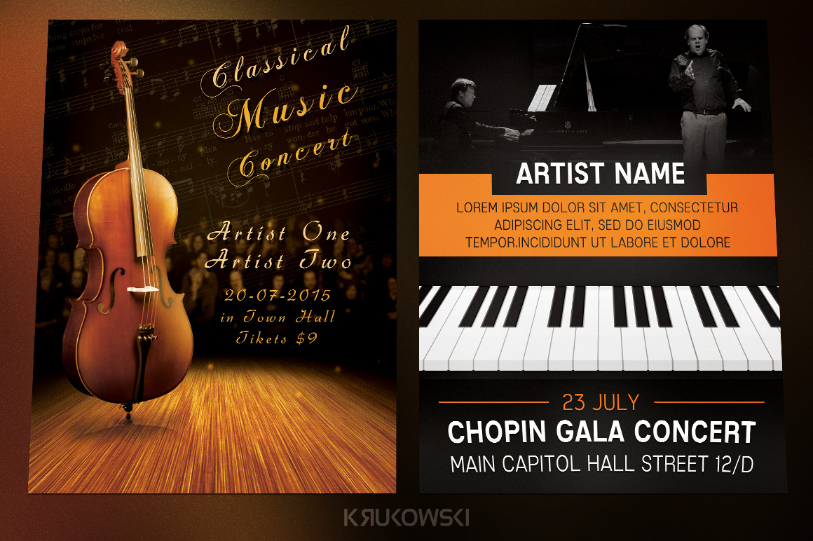 Classical Music Event Flyers Bundle Flyer Templates On