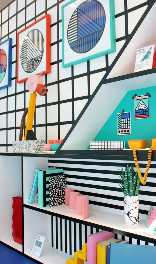Memphis Design 80s Artist Camille Walala Bright Colors Geometric Shapes Pastel Bookshelf Vibrant Throwback