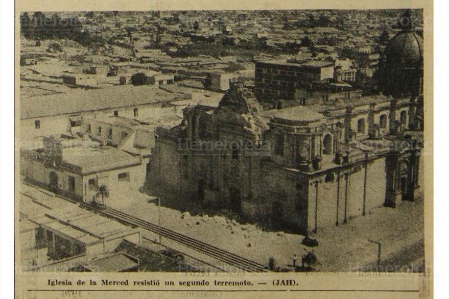La Merced, un templo del Centro Histórico severamente dañado por el terremoto del 4 de febrero de 1976. (Foto: Hemeroteca PL)