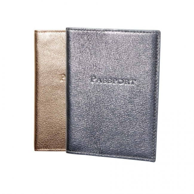 Passport Holder  Metallic Goatskin Leather