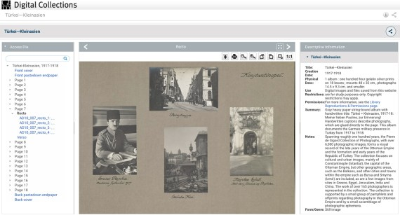 A screenshot of an album page digitally viewed within the Getty's digital collections pages.