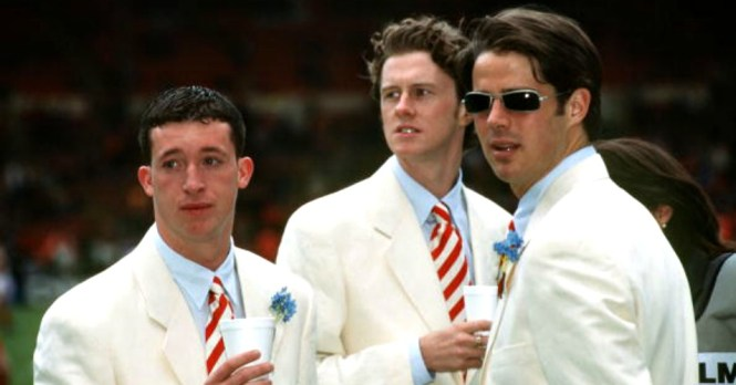 Robbie Fowler, Steve McManaman and Jamie Redknapp: Attended 1996 FA Cup final in matching white suits