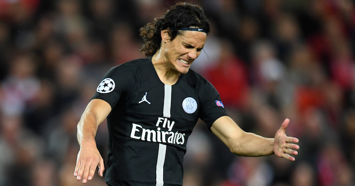 LIVERPOOL, ENGLAND - SEPTEMBER 18: Edinson Cavani of Paris Saint-Germain reacts during the Group C match of the UEFA Champions League between Liverpool and Paris Saint-Germain at Anfield on September 18, 2018 in Liverpool, United Kingdom. (Photo by Michael Regan/Getty Images)