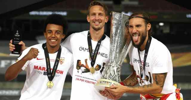 Jules Kounde, Luuk de Jong, and Nemanja Gudelj, Sevilla, Europa League win