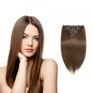 USA Stock 100g 18 Inch #4 Chocolate Brown Straight Clip In Hair PC953