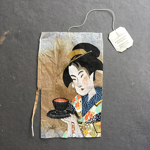 peinture sur thé geisha