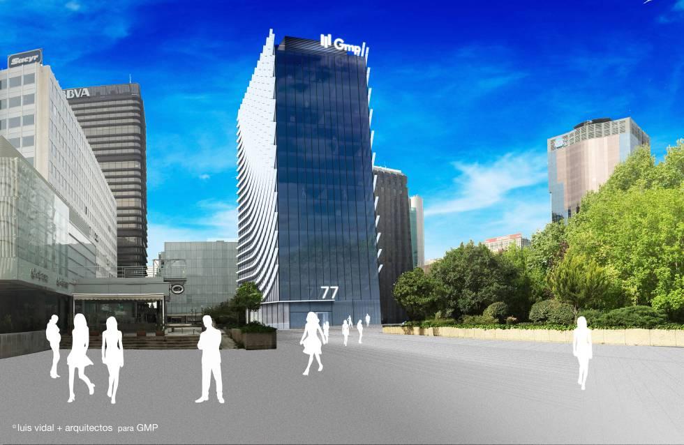 Recreación de proyecto de reforma del edificio Castellana 77.